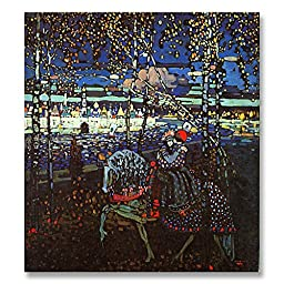 Wassily Kandinsky Couple Riding 1906 Original Landscape Oil Painting Reproduction Hand painted on Gallery Wrapped Canvas - 18X20 inch (46X51 cm)