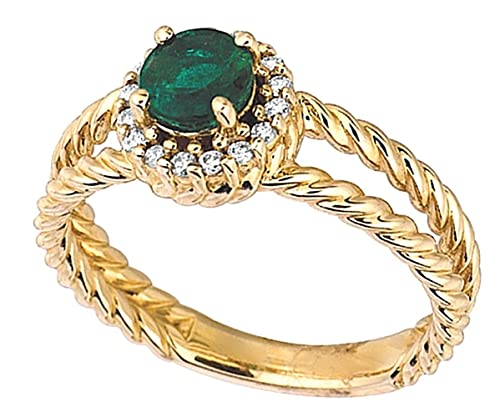 Prong setting 0.63 carat round emerald & diamond yellow gold 14K ring jewelry