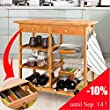 100% Bamboo Lengthen Size (72cm) Kitchen Trolley with Shelves & Drawer Storage, FKW06-N