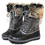 Bamboo Blizzard-02 Women's Lace Up Waterproof Snow Duck Fur Boot,Black,8.5