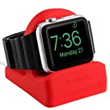 TomRich T90 Apple Watch Stand for Apple Watch Charger with Night Stand Mode for Apple Watch Series 3/Series 2/Series 1/42mm/38mm - Hot Red (Color: T90 Hot Red)