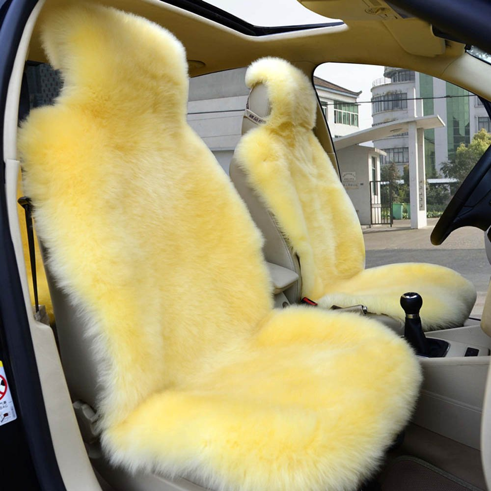 1pair yellow car cushion front driver seat covers sheepskin car seat cushion dhl ebay. Black Bedroom Furniture Sets. Home Design Ideas