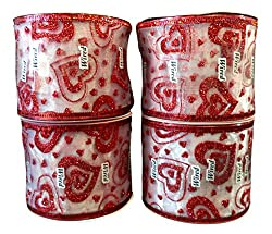 Bulk Buy: Valentines Day Sheer Glitter Hearts Wire Edged Ribbon, 2.5 in X 12 ft/Roll, Pack of (4) Rolls