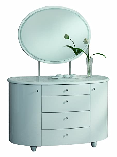 Birlea Aztec 4-Drawer Dresser and Mirror Set - High Gloss, White