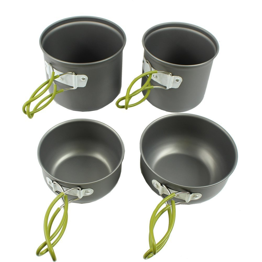 Joygo 4 in 1 Cooking Bowl Pot Pan Set Kits Outdoor Picnic Camping Hiking Cookware Backpacking many people set the pot aluminum pot pot with a portable outdoor bowl spoon 4 5 ds500