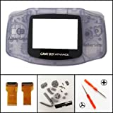 Full Housing Shell Case Cover Flex Cable Adapter for Nintendo Game Boy Advance GBA AGS 001 Mod Kit Replacement Clear Purple