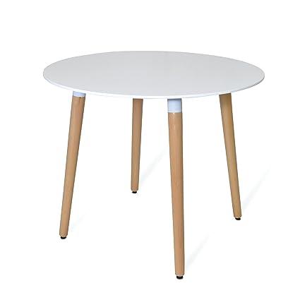 Table Dora Scandinavian Style Round - Ø120 cm - MDF laqué et bois de hêtre - SANTANI MOBILI