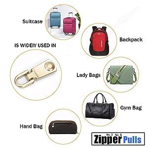 Zipper Pulls #5#3 8PCS - 4 Colors Metal Zipper Fixer Repair Replacement Pullers Metal-Plated Kits Zipper Sliders Zipper Pullers for Backpack Suitcase Jacket Bags Coat by FENGWANGLI (Color: 3)