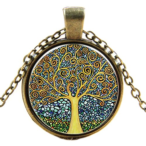 saysure-lady-girl-tree-of-life-cabochon-bronze-glass-chain-pendant
