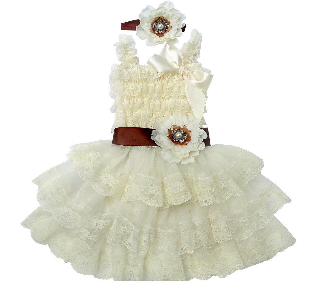 Rosy Kids Vintage Chic Flower Girl Lace Dress, Flower Sash and Hair Flower 0