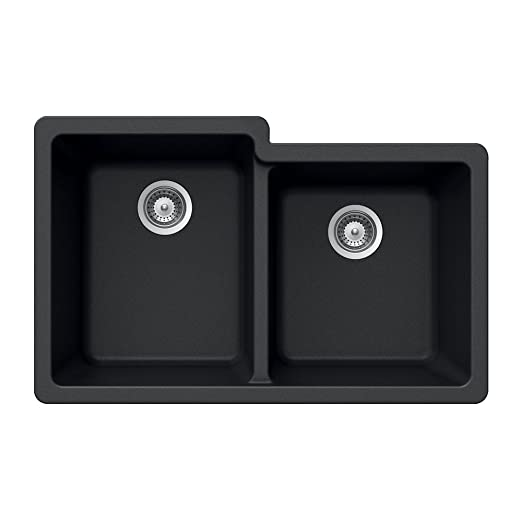 Houzer M-175U MIDNITE Quartztone Series Granite Undermount 60/40 Double Bowl Kitchen Sink, Black