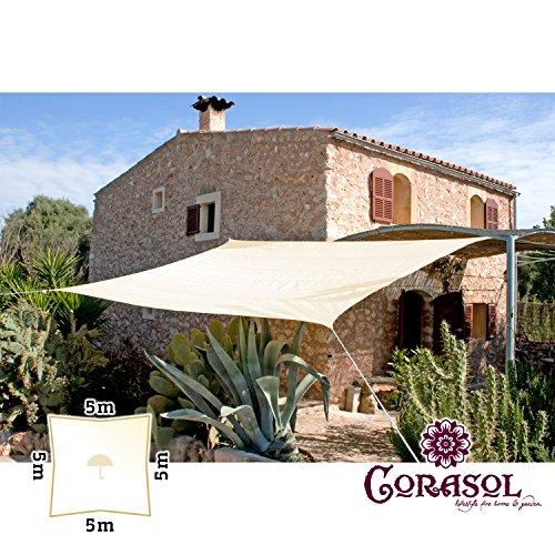 Corasol COR11SQ5-CW - Vela de sombra para patio (resistente al agua), color beige, 5 x 5 m