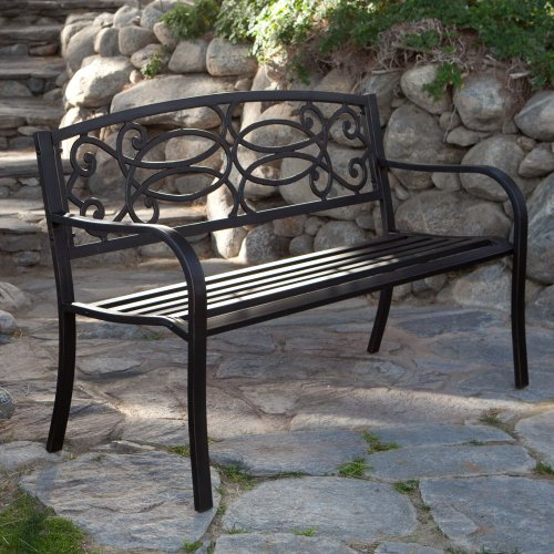 Coral Coast Coral Coast Scroll Curved Back 4-ft. Garden Bench, Antique Black, Steel