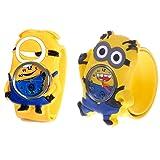 Kids Watch - Despicable Me, Minion, Slap Watch, Girls, Boys Educational -Time Teacher (Color: Minion Set 1, Tamaño: 27.5 X 27.5)