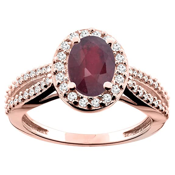 14ct Rose Gold Enhanced Ruby Ring Oval 8x6mm Diamond Accent 7/16 inch wide, size K