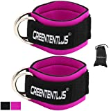 Greententljs Gym Ankle Straps for Cable Machines - Fitness Padded Ankle Cuffs Leg Strap Attachment Workout - Cable Kickbacks for Glute Exercise with Carry Bag (1 Pair, Rose Pink) (Color: Rose-Pink)