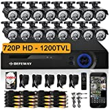 DEFEWAY 16 Outdoor 720P HD 1200TVL Security Camera System with 16 Channel 720P AHD Surveillance DVR and 2TB Hard Drive