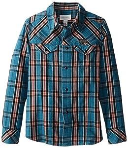 Diesel Big Boys' Ciabit Allover Check Yarn Dyed Button Front Shirt, Spruce, 14Y