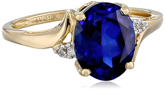 10k-Yellow-Gold-Created-Sapphire-and-Diamond-Accent-Ring-Size-7