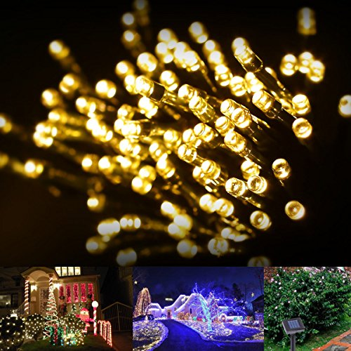Le Solar Fairy Lights, 55Ft, Waterproof, 100 Leds, 1.2 V, Warm White, Portable, With Light Sensor, Outdoor String Lights, Christmas Lights, Wedding, Party