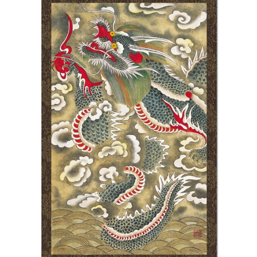 Red Dragon Scroll Hanging Wall Art Interior Decor Handmade Asian Print Korean Folk Painting