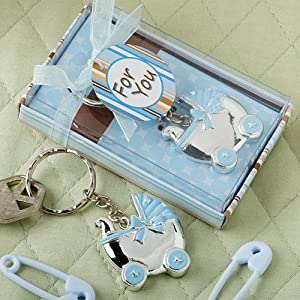 Blue Baby Carriage Design Key Chains