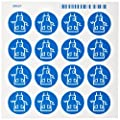 """Brady 58536 Pressure Sensitive Vinyl Right-To-Know Pictogram Labels , Blue On White,  1 1/8"""" Height x 1 1/8"""" Width,  Pictogram """"Apron"""" (16 Per Card,  1 Card per Package)"""