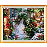 Anself DIY Handmade Needlework Counted Cross Stitch Set Embroidery Kit 14CT Lakeside Houses Pattern Cross Stitching 50 41cm Home Decoration