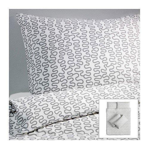 Ikea Bettwäsche Set Krakris 240x220 Weißgrau Gingerandlavender