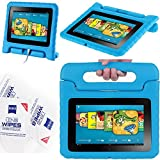 "2012 Kindle Fire Hd 7"" Cover Case Slim Fit Silicone Plastic Dual Protective Back Cover Standing Case Kid Proof Case for Amazon Kindle Fire Hd 7 Inch(will Not Fit Hd or HDX Models)-multiple Color Options (EVA-Kindle Fire HD 7(2012):Blue)"