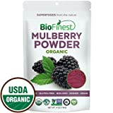 Biofinest Mulberry Juice Powder - 100% Pure Freeze-Dried Antioxidants Superfood - USDA Organic Vegan Raw Non-GMO - Boost Digestion Weight Loss - For Smoothie Beverage Blend (4 oz Resealable Bag)