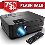 Pansonite Mini Portable Projector with 3000 Lux and 50,000 Hour Lamp Life,Video Projector Full HD 1080P and Max.200'' Display Supported, Compatible with HDMI/VGA/AV/ USB for Home Theater Entertainmen (Color: white, Tamaño: Large)