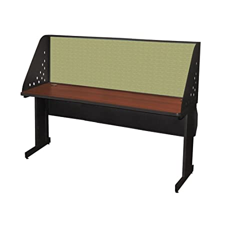 Pronto School Training Table With Carrel And Lockable Raceway 72W X 24D Dark Neutral Finish And Peridot Fabric