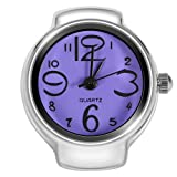VGEBY Quartz Finger Ring Watch, Stainless Steel Round Analog Ring Watch for Men Women(Purple) (Color: Purple)