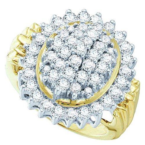 2.00 Carat (Ctw) 10K Yellow Gold Round Cut White Diamond Ladies Cluster Right Hand Ring 2 Ct