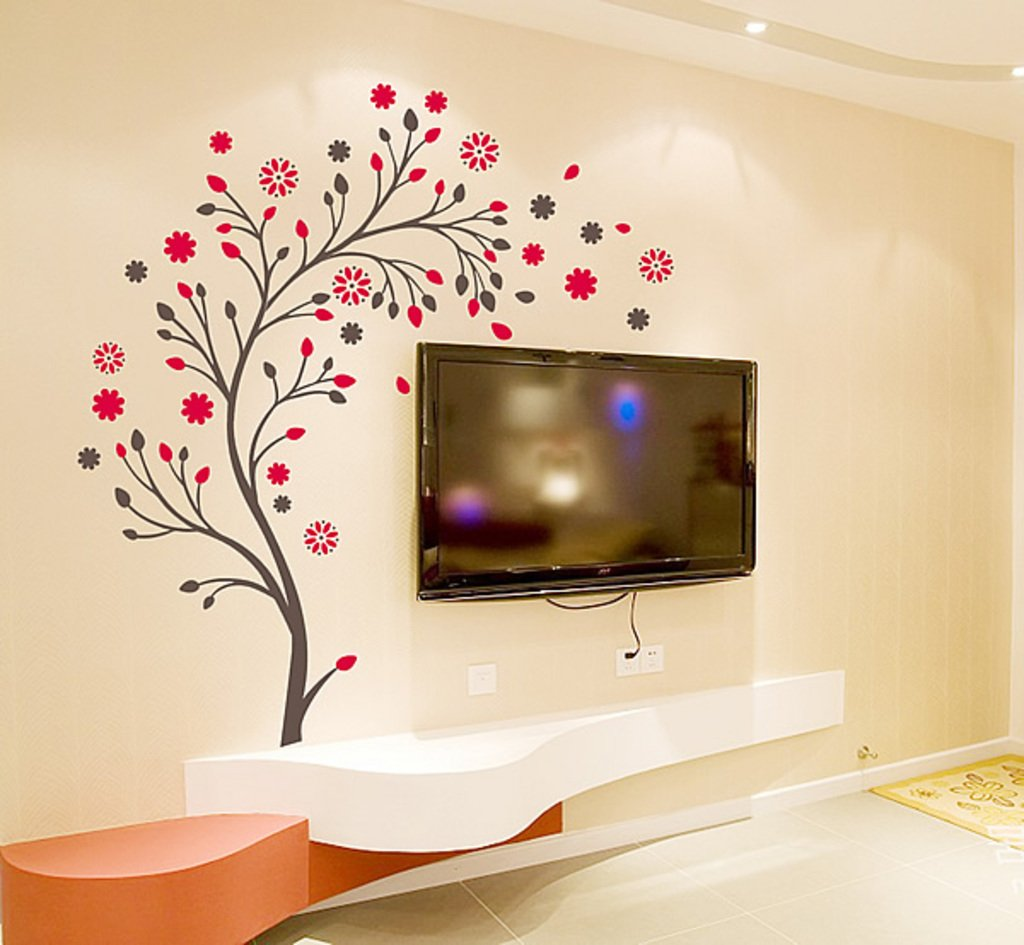StickersKart Wall Stickers Beautiful Magic Tree with Flowers (Multi-Colour)