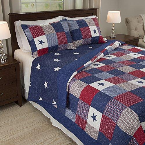 Lavish Home Caroline 3 Piece Quilt Set - King (Blue King Size Quilt compare prices)