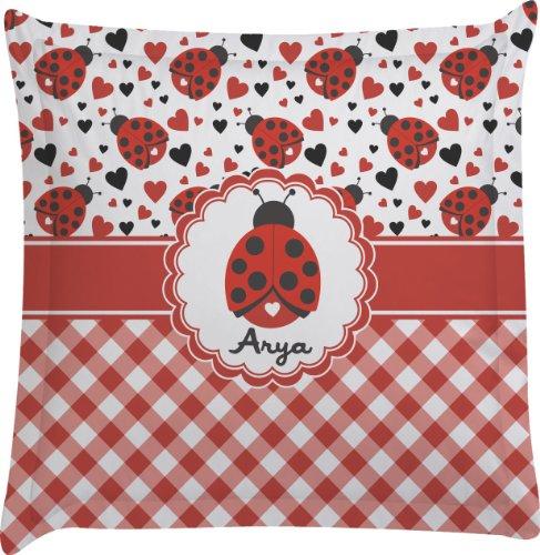 Ladybugs & Gingham Personalized Euro Sham Pillow Case front-986035