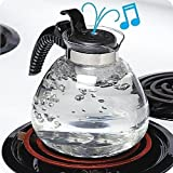 12 Cup Glass Whistling Kettle for Gas & Electric Stoves