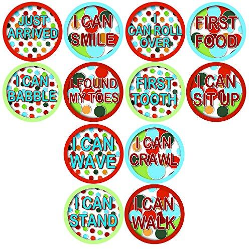 MILESTONES BABY STICKERS, Timeline of Child Milestones, Development Stages, Stickers Baby Shower Gift Photo Shower Stickers Baby Photo Onesie Milestone Stickers - 1