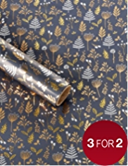 Gold & White Winter Foliage Christmas Wrapping Paper