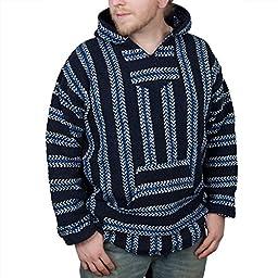 Baja Joe Striped Woven Eco-Friendly Jacket Coat Hoodie (Navy, Small)