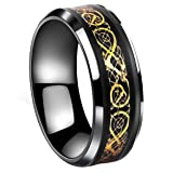Tanyoyo Black Celtic Dragon Stainless Steel Ring Gold Color Wedding Band Jewelry Size 5-14 (7)