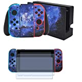 Taifond Full Set Faceplate Skin Decal Stickers for Nintendo Switch with 2Pcs Screen Protector (Console & Joy-con & Dock & Grip) -Blue Galaxy (Color: Blue Galaxy)