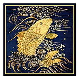 Golden Carp Asian Folk Art Counted Cross Stitch Chart