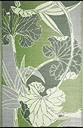 b.b.begonia Blossom Floral Contemporary Reversible Design 4\' x 6\' Green and Grey Rectangle Outdoor Rug Mat Polypropylene for Camping, Patio, Deck, Pool Area, Yard, Picnic