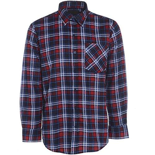 Herren Flanell Kariertes Hemd Gebürstete Baumwolle Warm Lumberjack Smart Arbeits-oberteil Country - Rot Marineblau Sky kariert, XL