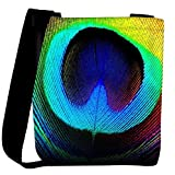 Snoogg Peacock Feather Womens Carry Around Cross Body Tote Handbag Sling Bags