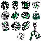 Timeline Trinketts Rhinestone Birthstone Charm Bracelet Beads Fits Pandora Jewelry - Emerald Green