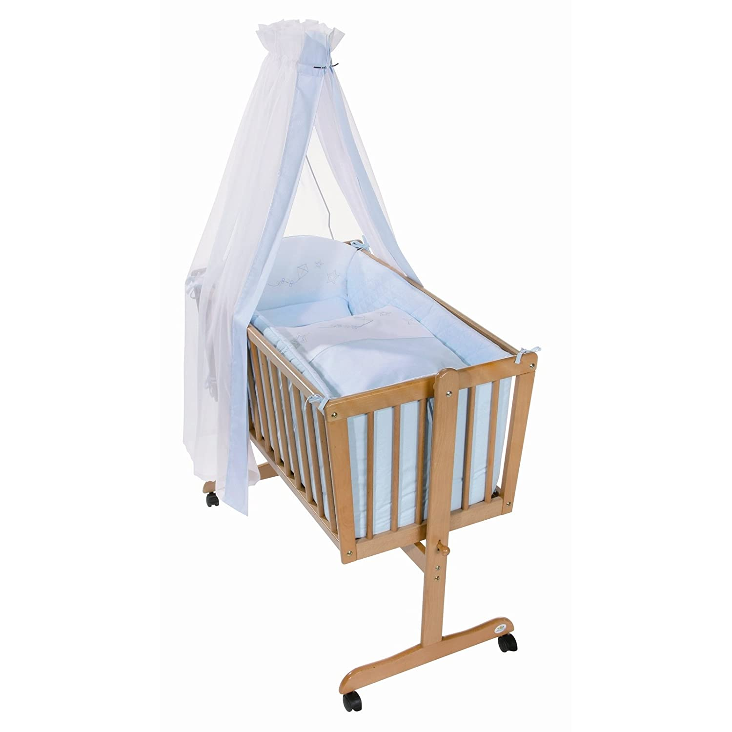 Easy Baby Wiege Komplettset natur, Cometa blue 181-56